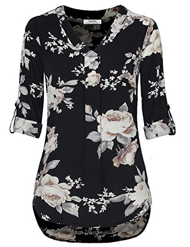 Youtalia Chiffon Blouses for Women, V Neck Loose Fitting Comfy Silk Casual Blouse Tops Multicolor Black Large (Silk Tunic Blouse)