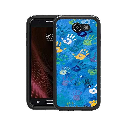 FIDIKO Luxury Handprint Art Pattern Protective Case Compatible Samsung j7, Durable Tough Funny Design Hard Case Compatible Samsung Galaxy j7
