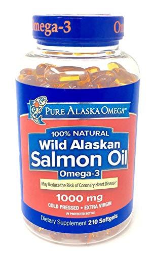 (Pure Alaska Omega Natural Wild Alaskan Salmon Oil, Omega 3, 1000 mg, 210 Count)
