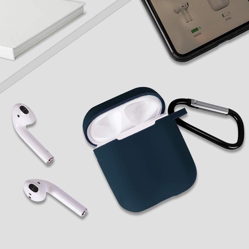 Airpods Case, (Front LED Visible) Upgrade Silicone Protective Shockproof Wireless Charging Airpods Earbuds Case Cover Skin with Keychain kit Set Compatible for Apple AirPods 1 & 2 2016-2019(Sky Blue)