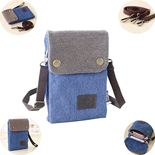 Easter Day Gift for Kids, Urmiss(TM) Men Classic Vintage Denim Jeans Small Crossbody Mini Messenger Shoulder Bag Wallet Case for iPhone 7 7S Plus, 6 6S Plus, 6S, 5S, 5C, SE, Galaxy S7 S6 Note 5 4