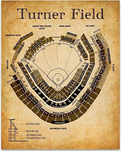 Turner Field Baseball Seating Chart - 11x14 Unframed Art Print - Great Sports Bar Decor and Gift Under $15 for Baseball - 14 Turners