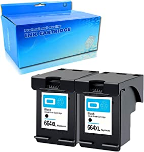 Tyjtyrjty 2X Black Compatible for Ink Cartridge 664 XL for hp 664 Cartridge for HP DeskJet 1115 2135 3635 1118 2138 3636 3638 4536 4676 for hp664