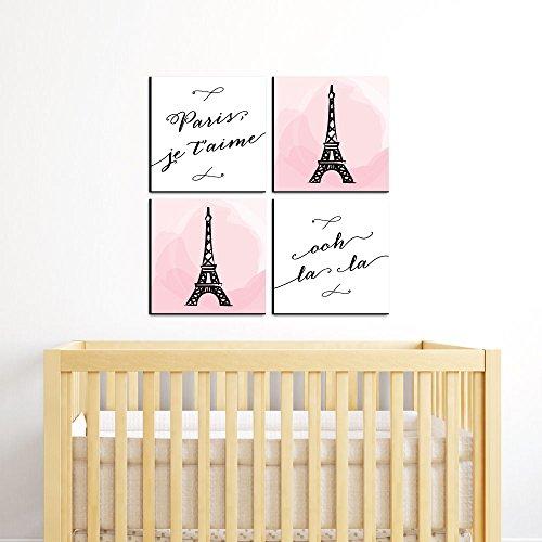 "Paris, Ooh La La - Kids Room, Nursery & Home Decor - 11"" x 11"" Kids Wall Art - Set of 4 Prints by Big Dot of Happiness (Image #1)"