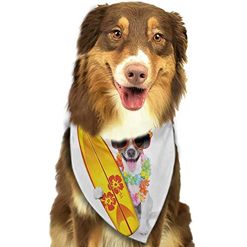 Pet Dog Scarf Ride The Wave Surfer Puppy with Sunglasses and Tropical Hibiscus Flowers Hawaiian Dog Print W27.5 xL12 Scarf for Small and Medium Dogs and Cats