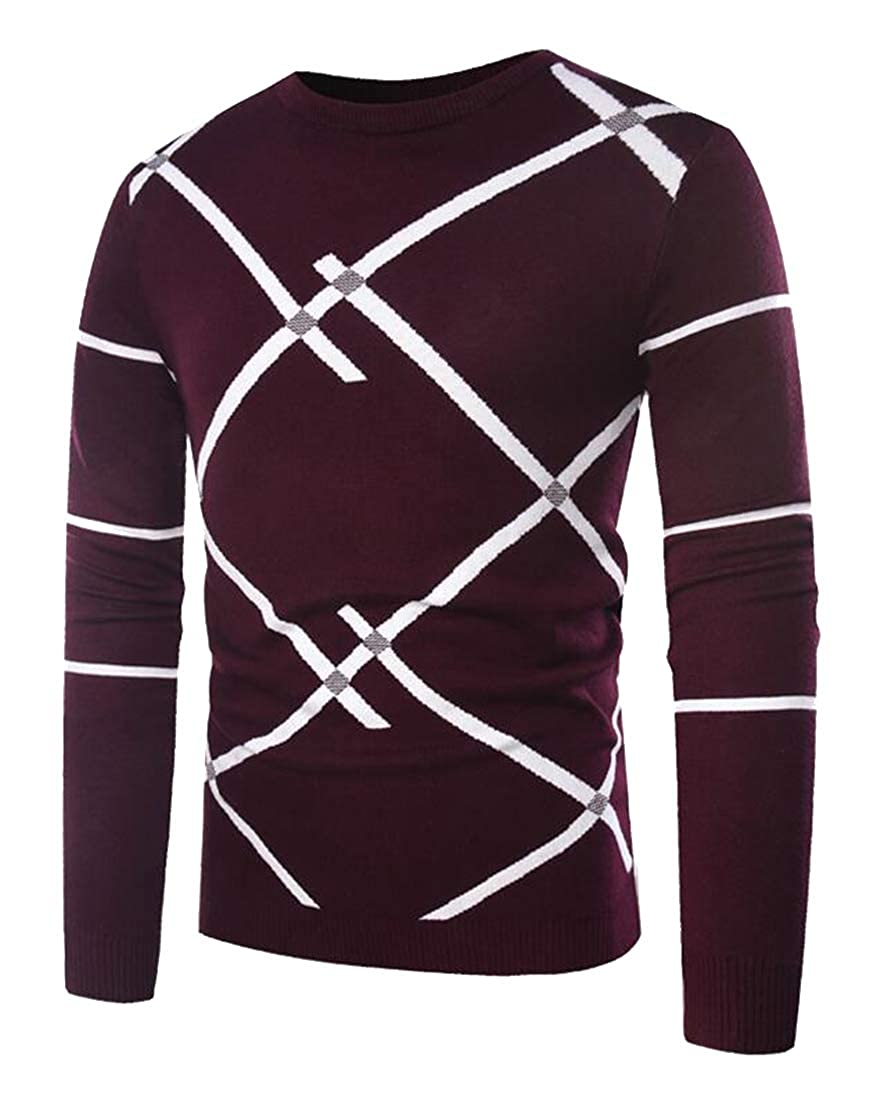 ARTFFEL Mens Casual Regular Fit Long Sleeve Round Neck Knit Contrast Pullover Sweater