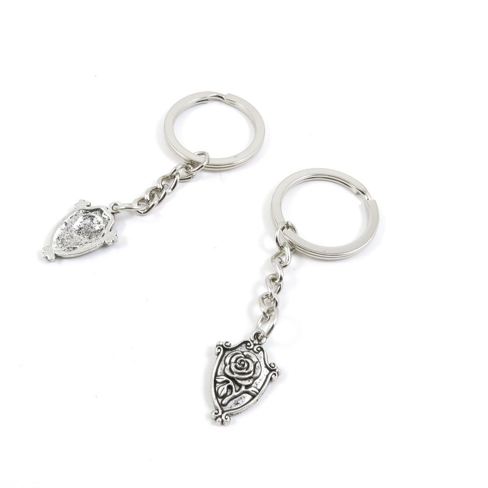 100 Pieces Keychain Door Car Key Chain Tags Keyring Ring Chain Keychain Supplies Antique Silver Tone Wholesale Bulk Lots D4QX9 Rose Signs