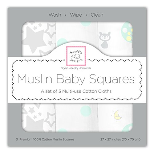 SwaddleDesigns Cotton Muslin Squares, Set of 3, SeaCrystal Woodland Fun