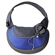 Woniu Portable Single Shoulder Sling Bag for Small Pets Outdoor Carrier Blue L