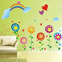 Sun flower Smiley Under the Rainbow kids room removable...