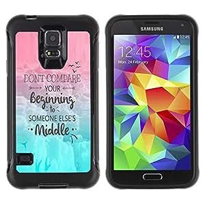 All-Round híbrido Heavy Duty de goma duro caso cubierta protectora Accesorio Generación-II BY RAYDREAMMM - Samsung Galaxy S5 SM-G900 - Comparison Yourself Others Motivation Quote