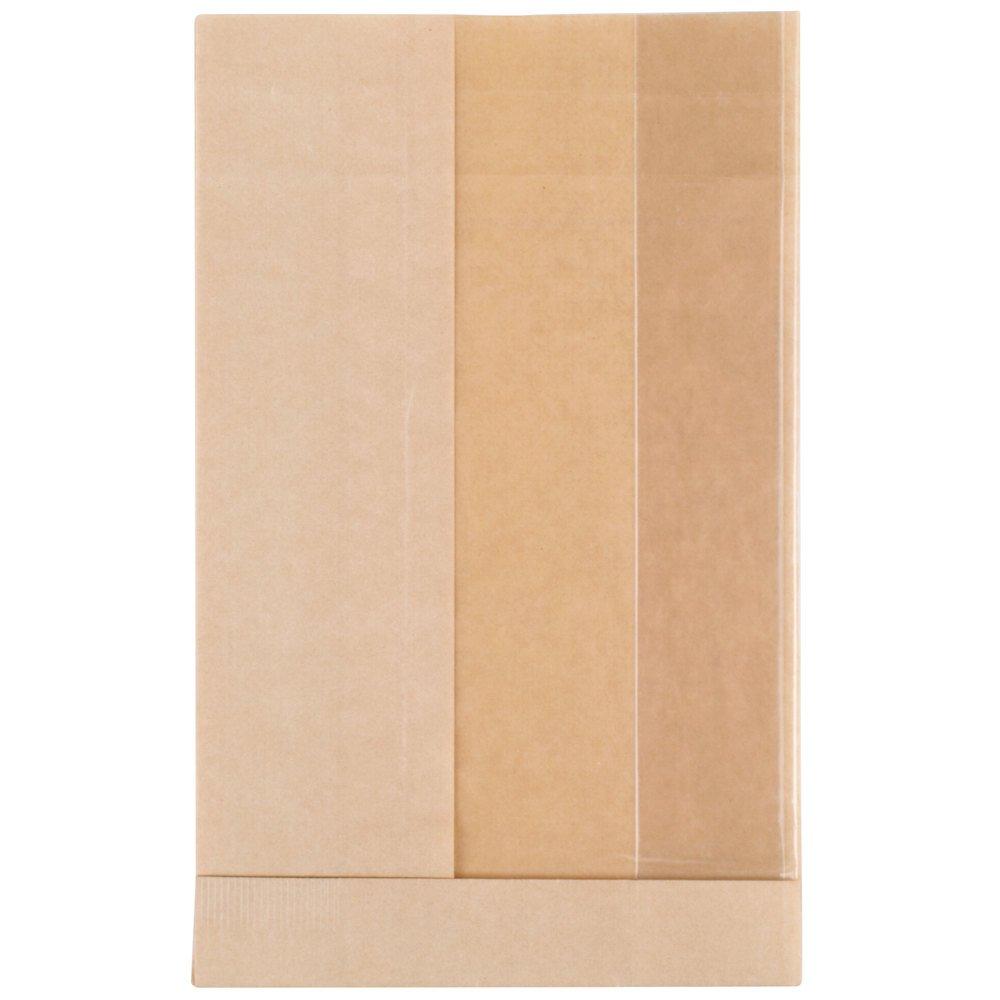 TableTop King Bagcraft Papercon 300090 4 1/4'' x 2 3/4'' x 11 3/4'' Dubl View ToGo! Kraft Extra-Large Window Sandwich / Bakery Bag - 500/Case
