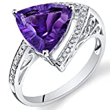Peora 14K White Gold Trillion Concave Amethyst Diamond Ring (3.25 cttw)