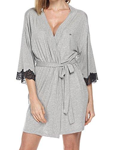 Ekouaer Women's Soft Thigh Length Plus Size Bathrobe Hotel Spa Robe,Gray,XXL