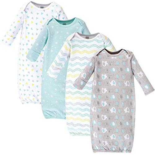 Luvable Friends Unisex Baby Cotton Gowns, Basic Elephant 4-Pack, 0-6 Months