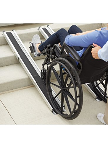 DMI Portable Wheelchair Ramp, Adjustable Telescoping Retractable Lightweight Wheelchair Ramp, Adjustable Length From 3 to 5 Feet, 4.5 Inch Inside Width by MABIS DMI Healthcare