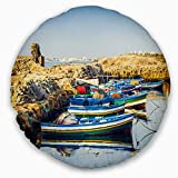 Designart CU11077-16-16-C Ancient Phoenician Port Africa' Landscape Printed Throw Cushion Pillow Cover for Living Room, Sofa, 16'' Round, Pillow Insert + Cushion Cover Printed on Both Side