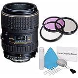 Tokina 100mm f/2.8 AT-X M100 AF Pro D Macro Autofocus Lens for Nikon AF-D (International Model) No Warranty+Deluxe Cleaning Kit + 55mm 3 Piece Filter Kit Bundle 2