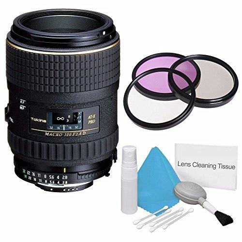 Tokina 100mm f/2.8 at-X M100 AF Pro D Macro Autofocus Lens for Nikon AF-D (International Model) +Deluxe Cleaning Kit + 55mm 3 Piece Filter - Nikon 100 Mm Lens Macro