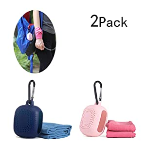 Cooling Towel Small Instant Relief with Breathable Case and Portable Carabiner for Cool Down for All Sports & Outdoor Adventures - Camping, Hiking, Gym Workout, Yoga, Running & More Activities