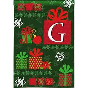 Christmas Presents Monogram G Garden Flag