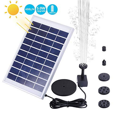 AISITIN 1000mAh 5.0W Solar Fountain Pump, Solar Water Pump Floating Fountain Built-in Battery, with 6 Nozzles, for Bird Bath, Fish Tank, Pond or Garden Decoration Solar Aerator Pump ()