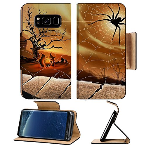 MSD Premium Samsung Galaxy S8 Flip Pu Leather Wallet Case IMAGE of web spider background drop nature design pattern trap cobweb water insect light white morning net