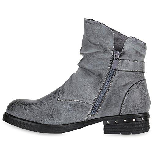 Stiefelparadies Damen Stiefeletten Metallic Biker Boots Leicht Gefütterte Stiefel Block Absatz Booties Schnallen Schuhe Damenschuhe Flandell Grau Avion