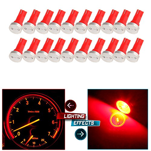 cciyu 20x High Power T5 73 74 Wedge Instrument Cluster Speedometer LED Light Bulbs Red
