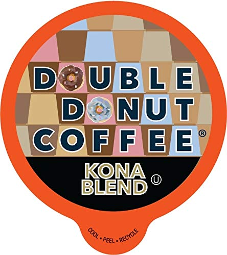 Double Donut Gourmet Coffee, Kona Blend, in Recyclable Single Serve Cups for all Keurig K-Cup Brewers, 24 Count ()