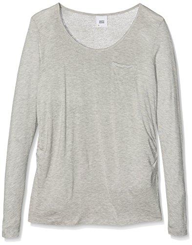 MAMALICIOUS Mlwendy L/S Jersey Top a V, Camiseta de Manchas Largas Premamá para Mujer Gris (Light Grey Melange Light Grey Melange)