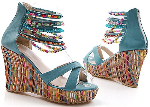 Beaded Wedge Summer Bohemian Azul Heel Platform The Sandalias Catata High Women Pump Across Top qSUgwg