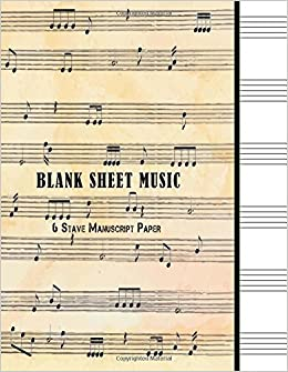 blank sheet music 6 stave manuscript paper 100 pages 85 x 11 music journal notebook piano guitar etc volume 2