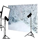 DODOING 5x7ft Photo Scenic Background Backdrop Frozen Snow Trees Winter Wedding Photography Backdrop Vinyl