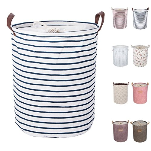 DOKEHOM DKA0814BL2 17.7' Large Laundry Basket (Available 17.7' and 19.7'), Drawstring Waterproof Round Cotton Linen Collapsible Storage Basket (Blue Strips, M)