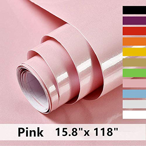 """Pink Self Adhesive Paper15.8"""" X 118""""Decorative Self Adhesive Film Vinyl Seif Adhesive Paper for Countertops Kitchen Cabinet Waterproof Removable Shelf Paper Leave No Trace Surfaces Easy to Clean ¡"""