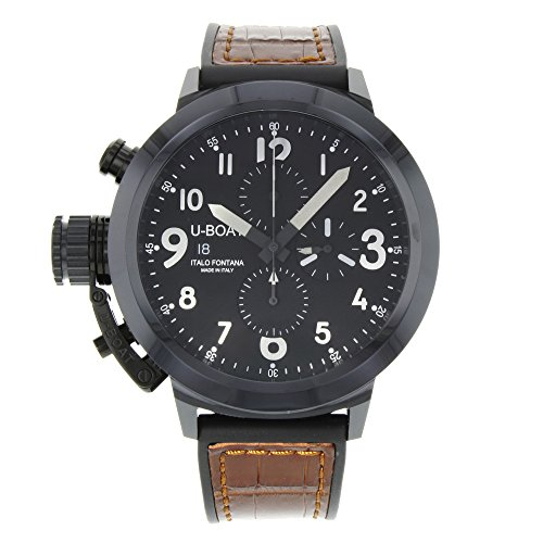 U-Boat Flightdeck 50 Black Dial Leather Mens Watch - Watches Uboat