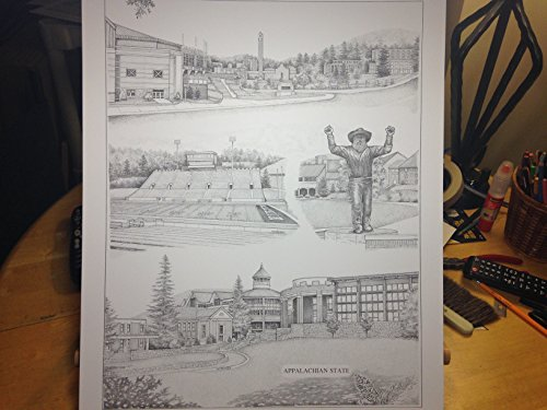 Appalachian State University 16''x20'' pen and ink collage print by Campus Scenes