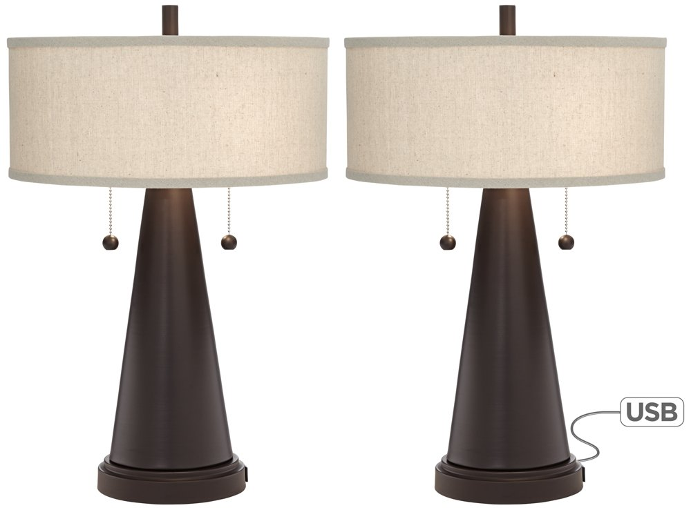 "Craig Mid Century Modern Accent Table Lamps Set of 2 with Hotel Style USB Port Bronze Metal Natural Linen Drum Shade for Bedroom - Franklin Iron Works - Set of 2 table lamps. Each is 23"" high. Round bases are 7"" wide. Drum shades are 15"" wide x 6 3/4"" high. Weighs 8.8 lbs each. Each takes two maximum 60 watt standard base bulb (not included). Double pull chain socket. Set of 2 rustic farmhouse table lamps featuring USB ports. From the Franklin Iron Works brand. - lamps, bedroom-decor, bedroom - 51 yo4FtE9L -"