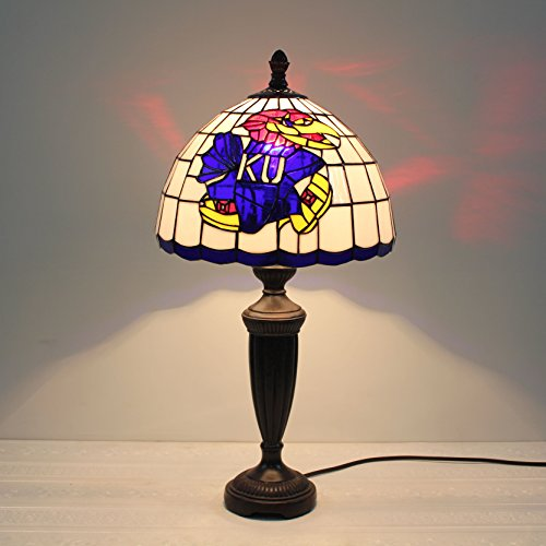 HDO 12-inch NCAA Kansas Jayhawks Stained Glass Table Lamp