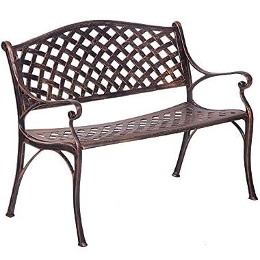 Merax Outdoor Bench Garden Park Bench Chair Cast Aluminum (Antique Copper)