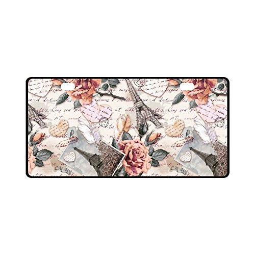 INTERESTPRINT Vintage Eiffel Tower Rose Flowers and Feathers on Old Postal Stamps Automotive Metal License Plates, Car Tag Decoration for Woman Man - 11.8 x 6.1 Inch