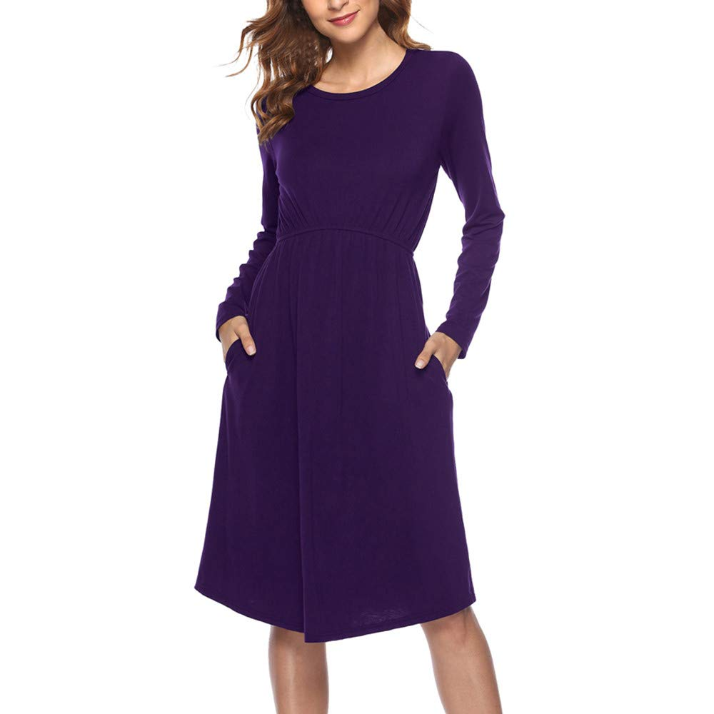 Brief Swing Dresses for Women Round Neck Long Sleeve Loose British Look Ruffle Plus Size