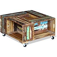 Festnight Reclaimed Wood Square Coffee Table with 4 Wheels, 27.6x 27.6x 13.8, Antique-Style