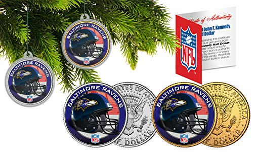 Licensed Baltimore Ravens NFL Christmas Tree Ornament Colorized 24KT Gold JFK Half Dollar 2 Coin Set! W/H COA!