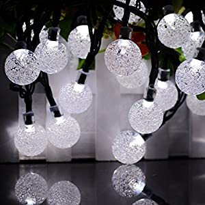 Vmanoo Globe Battery Operated Timer String Lights 30 LED Bubble Crystal Ball Fairy Christmas Lighting Decor For Outdoor, Indoor, Garden, Patio, Bedroom Wedding Xmas Decorations (White)