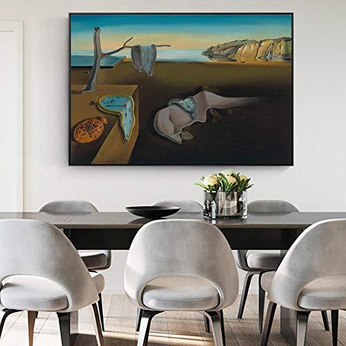 MhY La persistencia de la Memoria Pinturas de Lienzo Famosas de Salvador Dali Arte de la Pared Impresiones de la Lona Cuadros de la Pared para la Sala Cuadros 60cm x90cm No Frame