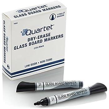 Quartet Glass Board Dry Erase Markers, Bullet Tip, Premium, Black, 12-Pack (79553)