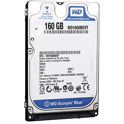 Western Digital WD1600BEVT 160 GB 5400RPM SATA 8 MB 2.5-Inch Notebook Hard Drive (Renewed)