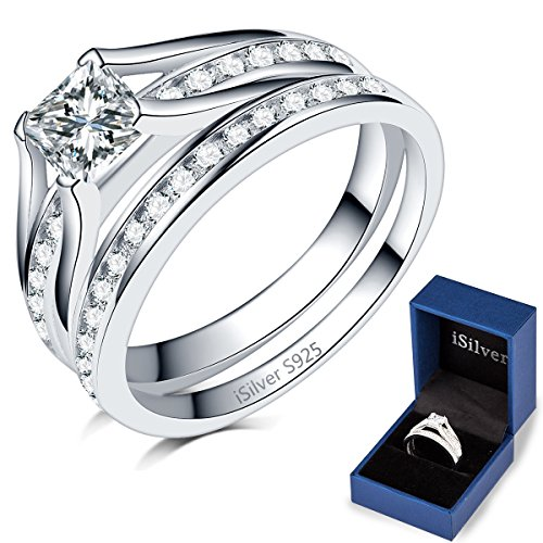 Princess Cut Wedding Engagement Ring, 925 Sterling Silver (sterling-silver, 4)